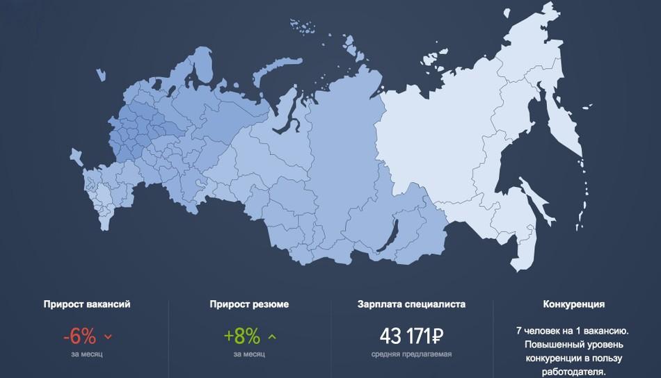 На hh.ru появилась интерактивная карта рынка труда